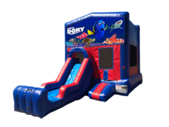 Finding Dory Mini Red & Blue Bounce House Combo w/ Single Lane Dry Slide