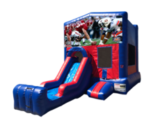 Alabama vs Auburn Mini Red & Blue Bounce House Combo w/ Single Lane Dry Slide