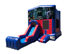 Batman Mini Red & Blue Bounce House Combo w/ Single Lane Dry Slide