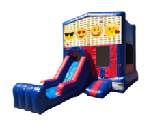 Emoji Mini Red & Blue Bounce House Combo w/ Single Lane Dry Slide
