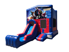 Guardians of the Galaxy Mini Red & Blue Bounce House Combo w/ Single Lane Dry Slide