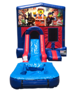 Lego Movie Mini Red & Blue Bounce House Combo w/ Single Lane Water Slide