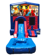 Lego Ninjago Mini Red & Blue Bounce House Combo w/ Single Lane Water Slide