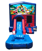 Mickey Mouse Club House Mini Red & Blue Bounce House Combo w/ Single Lane Water Slide