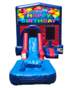 Happy Birthday Mini Red & Blue Bounce House Combo w/ Single Lane Water Slide
