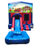 Fireman Mini Red & Blue Bounce House Combo w/ Single Lane Water Slide