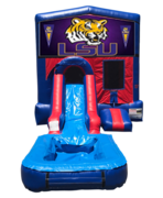 LSU Mini Red & Blue Bounce House Combo w/ Single Lane Water Slide