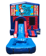 Cat in the Hat Mini Red & Blue Bounce House Combo w/ Single Lane Water Slide