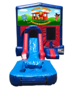 Daniel Tiger Mini Red & Blue Bounce House Combo w/ Single Lane Water Slide