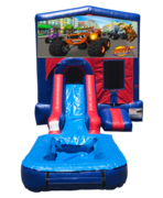 Blaze Mini Red & Blue Bounce House Combo w/ Single Lane Water Slide