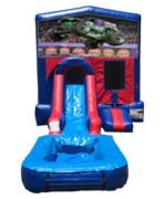 Monster Truck Mini Red & Blue Bounce House Combo w/ Si
