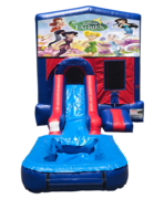 Disney Fairies Mini Red & Blue Bounce House Combo w/ Single Lane Water Slide