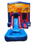 Happy Thanksgiving Mini Red & Blue Bounce House Combo w/ Single Lane Water Slide
