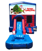 Merry Christmas Mini Red & Blue Bounce House Combo w/ Single Lane Water Slide