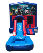 Avengers Mini Red & Blue Bounce House Combo w/ Single Lane Water Slide