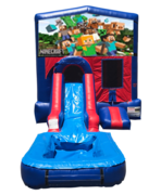 Minecraft Mini Red & Blue Bounce House Combo w/ Single Lane Water Slide