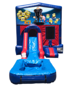 Despicable Me Mini Red & Blue Bounce House Combo w/ Single Lane Water Slide