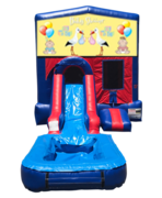 Baby Shower Mini Red & Blue Bounce House Combo w/ Single Lane Water Slide
