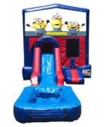 Minions Mini Red & Blue Bounce House Combo w/ Single Lane Water Slide