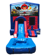 Angry Birds Mini Red & Blue Bounce House Combo w/ Single Lane Water Slide