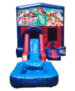 Little Mermaid Mini Red & Blue Bounce House Combo w/ Single Lane Water Slide