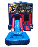 Captain America Mini Red & Blue Bounce House Combo w/ Single Lane Water Slide