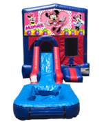 Minnie Mouse Mini Red & Blue Bounce House Combo w/ Single Lane Water Slide