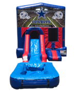 Dallas Cowboys Mini Red & Blue Bounce House Combo w/ Single Lane Water Slide