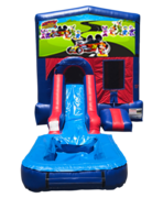 Mickey Mouse Roadster Mini Red & Blue Bounce House Combo w/ Single Lane Water Slide
