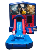 Beauty and the Beast Mini Red & Blue Bounce House Combo w/ Single Lane Water Slide