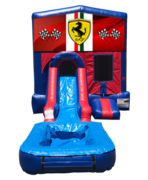 Ferrari Mini Red & Blue Bounce House Combo w/ Single Lane Water Slide