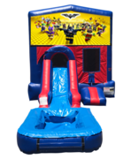 Lego Batman Mini Red & Blue Bounce House Combo w/ Single Lane Water Slide