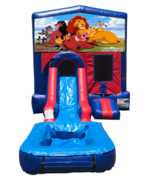 Lion King Mini Red & Blue Bounce House Combo w/ Single Lane Water Slide