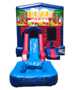 Luau Party Mini Red & Blue Bounce House Combo w/ Single Lane Water Slide