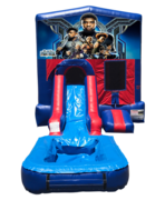 Black Panther Mini Red & Blue Bounce House Combo w/ Single Lane Water Slide