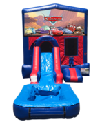 Cars Mini Red & Blue Bounce House Combo w/ Single Lane Water Slide