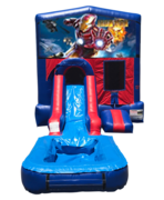 Iron Man Mini Red & Blue Bounce House Combo w/ Single Lane Water Slide