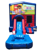 Doc McStuffins Mini Red & Blue Bounce House Combo w/ Single Lane Water Slide