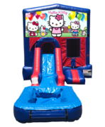 Hello Kitty Mini Red & Blue Bounce House Combo w/ Single Lane Water Slide