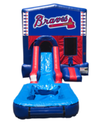 Atlanta Braves Mini Red & Blue Bounce House Combo w/ Single Lane Water Slide