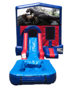 Jurassic World Mini Red & Blue Bounce House Combo w/ Single Lane Water Slide