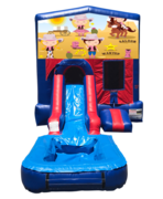 Cowgirls Mini Red & Blue Bounce House Combo w/ Single Lane Water Slide