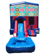 Doughnuts Mini Red & Blue Bounce House Combo w/ Single Lane Water Slide