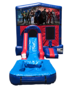 Justice League Mini Red & Blue Bounce House Combo w/ Single Lane Water Slide