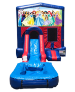 Disney Princess Mini Red & Blue Bounce House Combo w/ Single Lane Water Slide