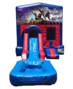 Fortnite Mini Red & Blue Bounce House Combo w/ Single Lane Water Slide