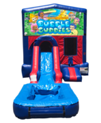 Bubble Guppies Mini Red & Blue Bounce House Combo w/ Single Lane Water Slide