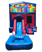 Congratulations Mini Red & Blue Bounce House Combo w/ Single Lane Water Slide