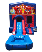 Carnival Mini Red & Blue Bounce House Combo w/ Single Lane Water Slide