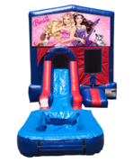 Barbie Mini Red & Blue Bounce House Combo w/ Single Lane Water Slide
